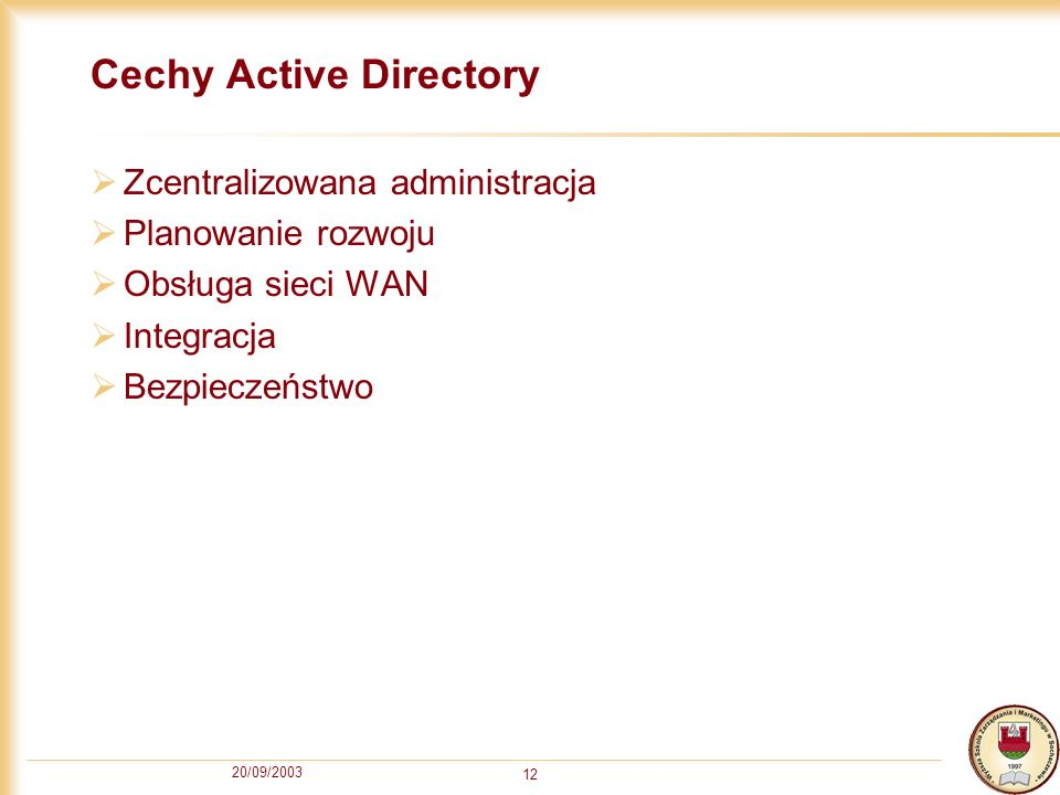Cechy Active Directory