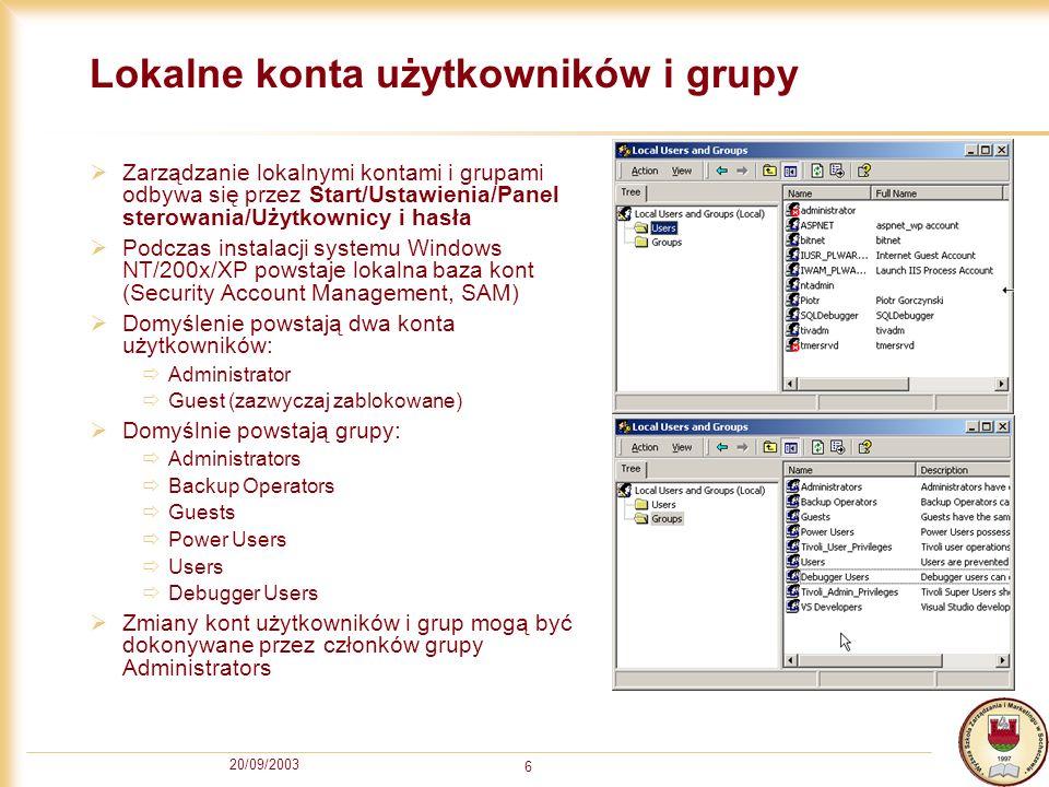 Lokalne konta użytkowników i grupy