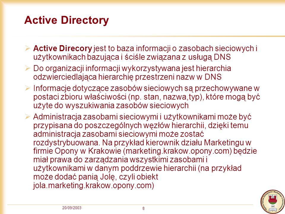 Active Directory Active Direcory jest to baza informacji o zasobach sieciowych i użytkownikach bazująca i ściśle związana z usługą DNS.