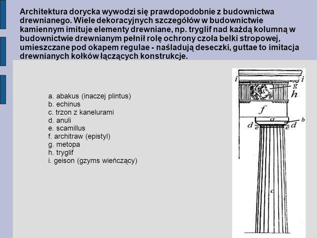 Architektura dorycka wywodzi się prawdopodobnie z budownictwa drewnianego. Wiele dekoracyjnych szczegółów w budownictwie kamiennym imituje elementy drewniane, np. tryglif nad każdą kolumną w budownictwie drewnianym pełnił rolę ochrony czoła belki stropowej, umieszczane pod okapem regulae - naśladują deseczki, guttae to imitacja drewnianych kołków łączących konstrukcje.