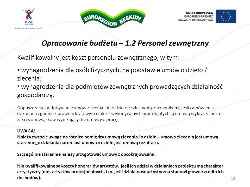 Opracowanie budżetu – 1.2 Personel zewnętrzny