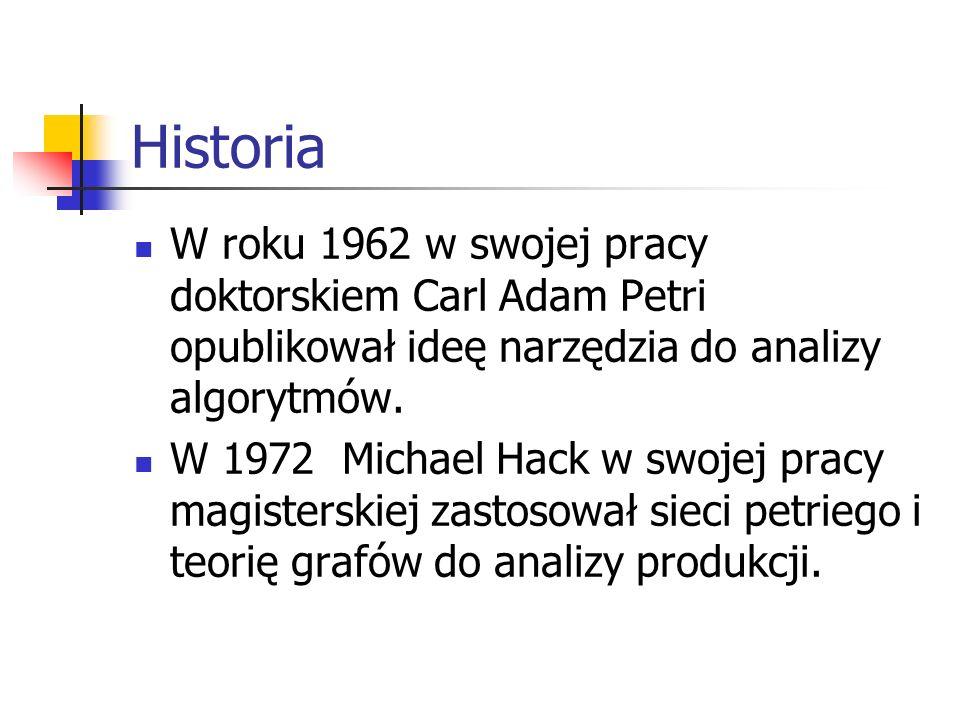 Historia W roku 1962 w swojej pracy doktorskiem Carl Adam Petri opublikował ideę narzędzia do analizy algorytmów.