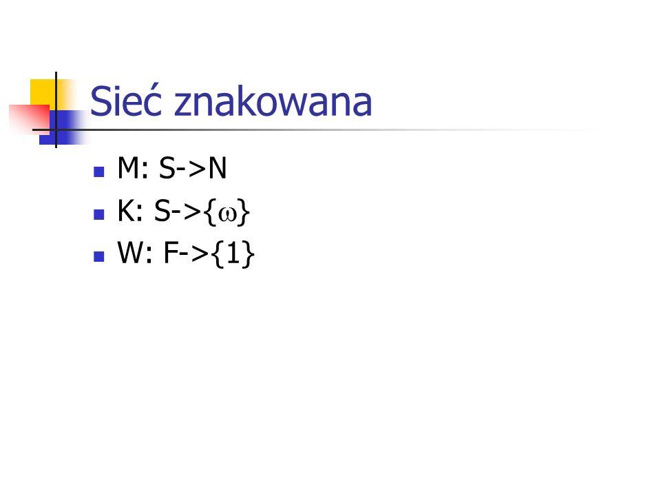 Sieć znakowana M: S->N K: S->{} W: F->{1}