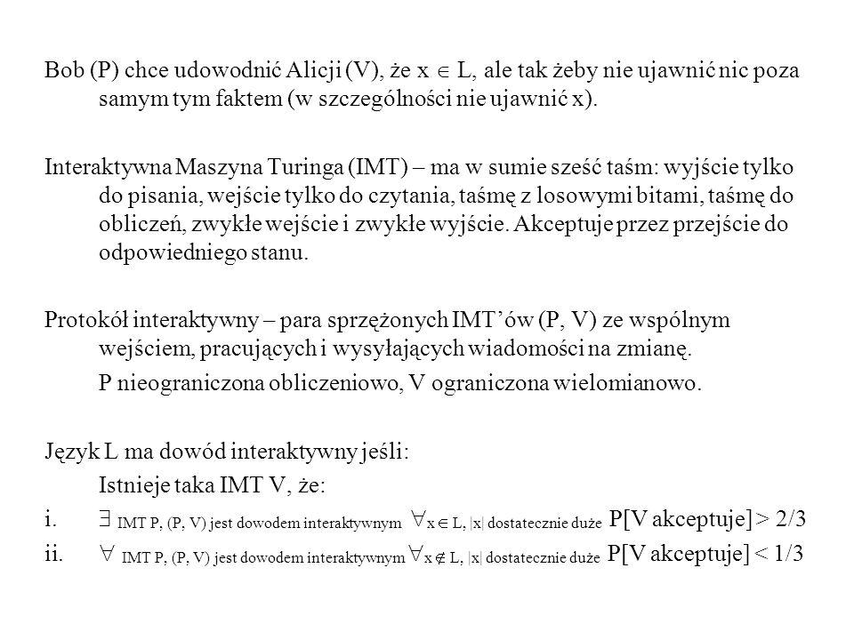 Bob (P) chce udowodnić Alicji (V), że x  L, ale tak żeby nie ujawnić nic poza samym tym faktem (w szczególności nie ujawnić x).