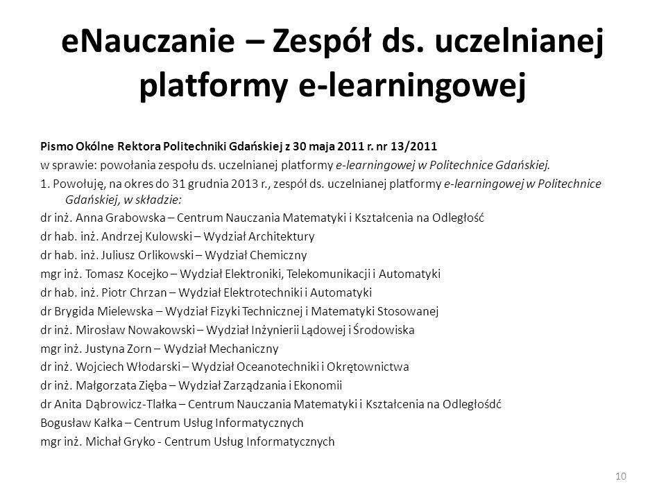 eNauczanie – Zespół ds. uczelnianej platformy e-learningowej