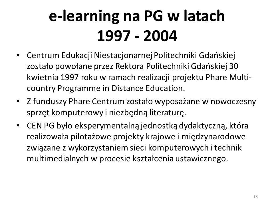 e-learning na PG w latach 1997 - 2004