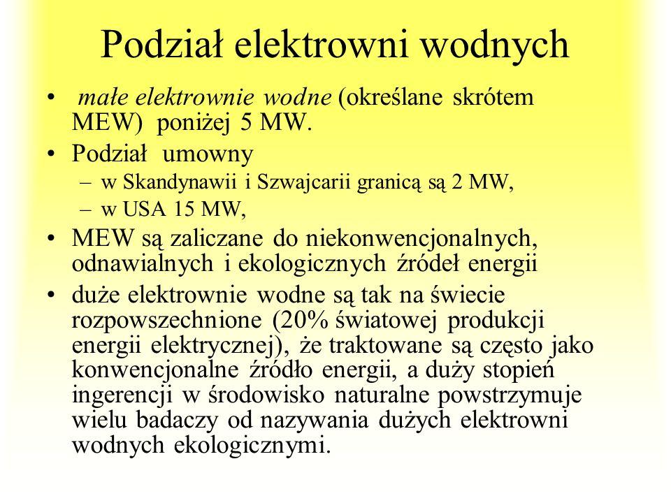 Podział elektrowni wodnych