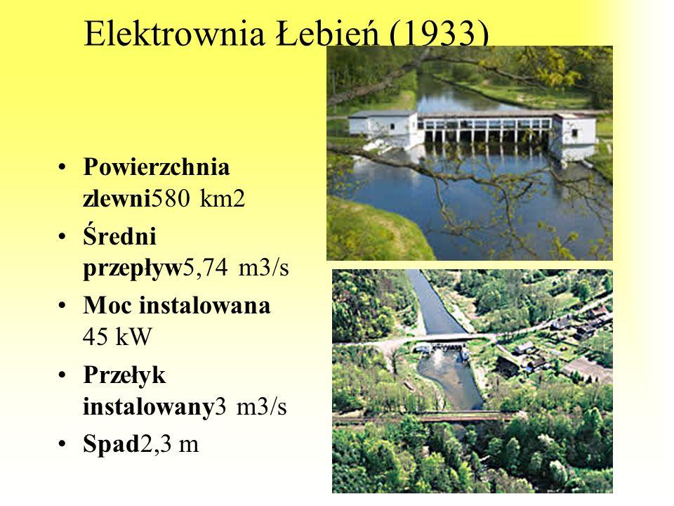 Elektrownia Łebień (1933) Powierzchnia zlewni580 km2
