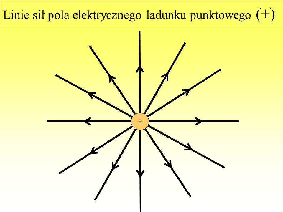 Linie sił pola elektrycznego ładunku punktowego (+)