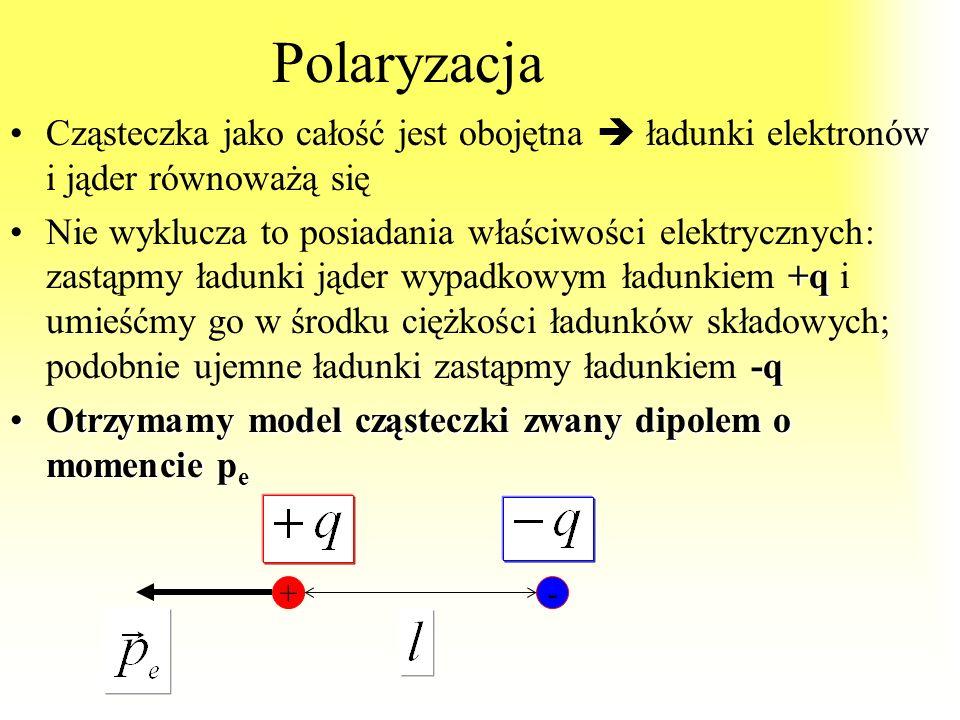 Polaryzacja Cząsteczka jako całość jest obojętna  ładunki elektronów i jąder równoważą się.