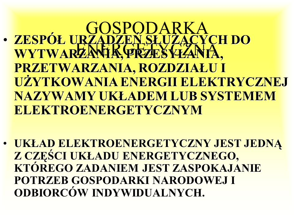 GOSPODARKA ENERGETYCZNA