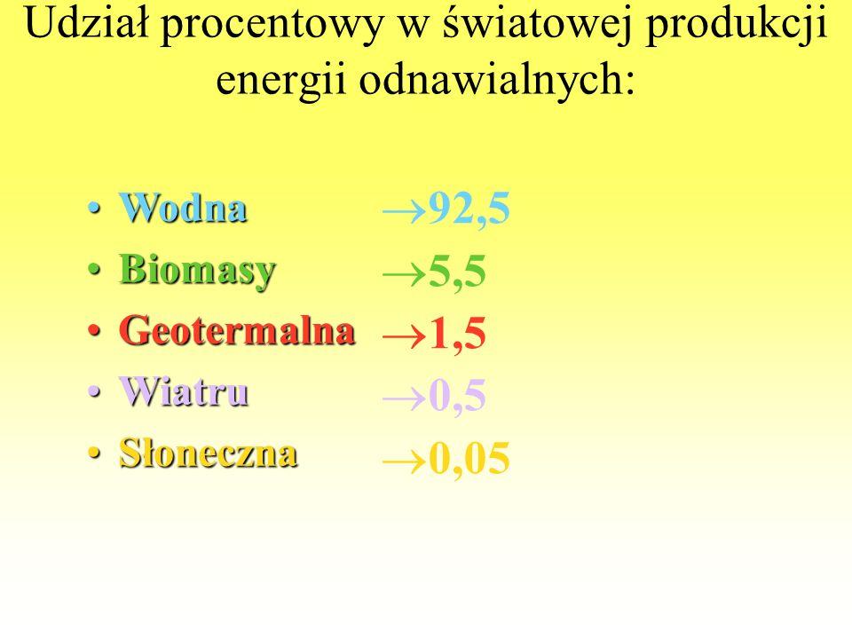 Udział procentowy w światowej produkcji energii odnawialnych: