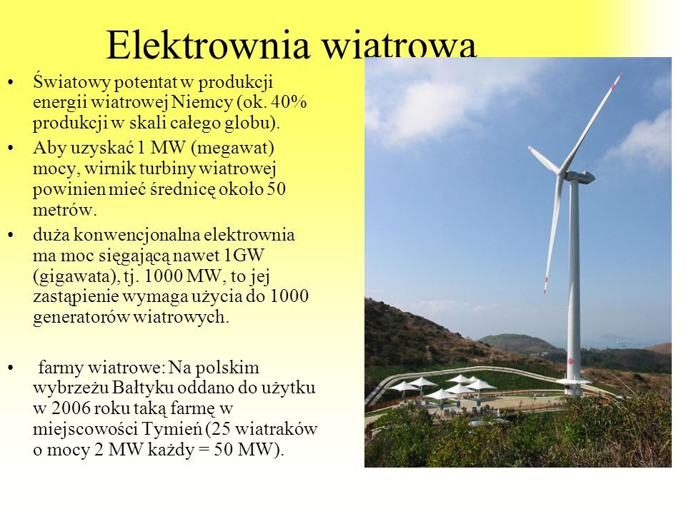 Elektrownia wiatrowa Światowy potentat w produkcji energii wiatrowej Niemcy (ok. 40% produkcji w skali całego globu).