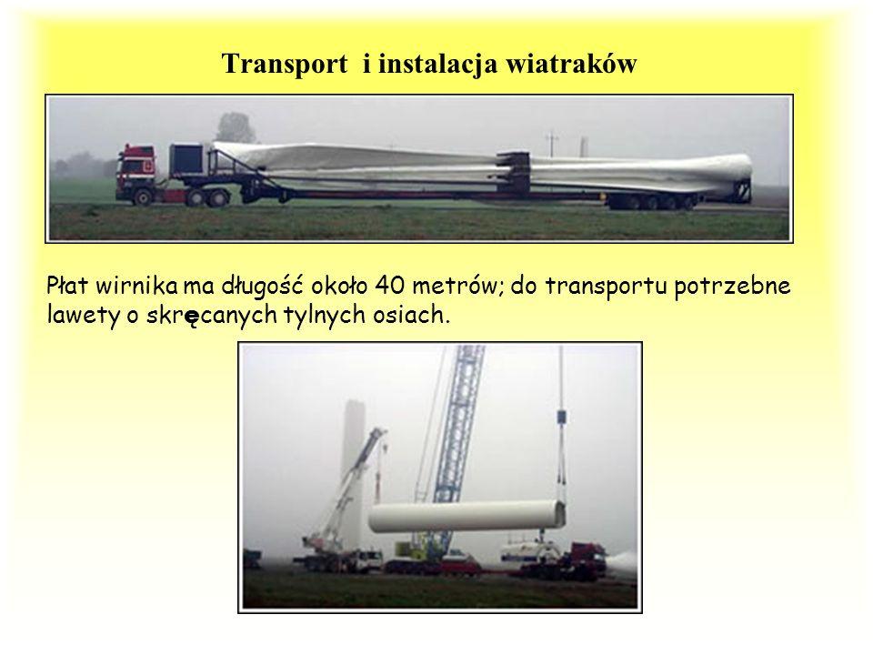 Transport i instalacja wiatraków