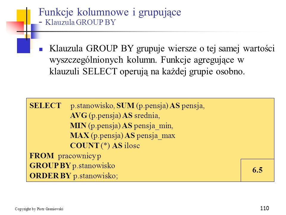 Funkcje kolumnowe i grupujące - Klauzula GROUP BY