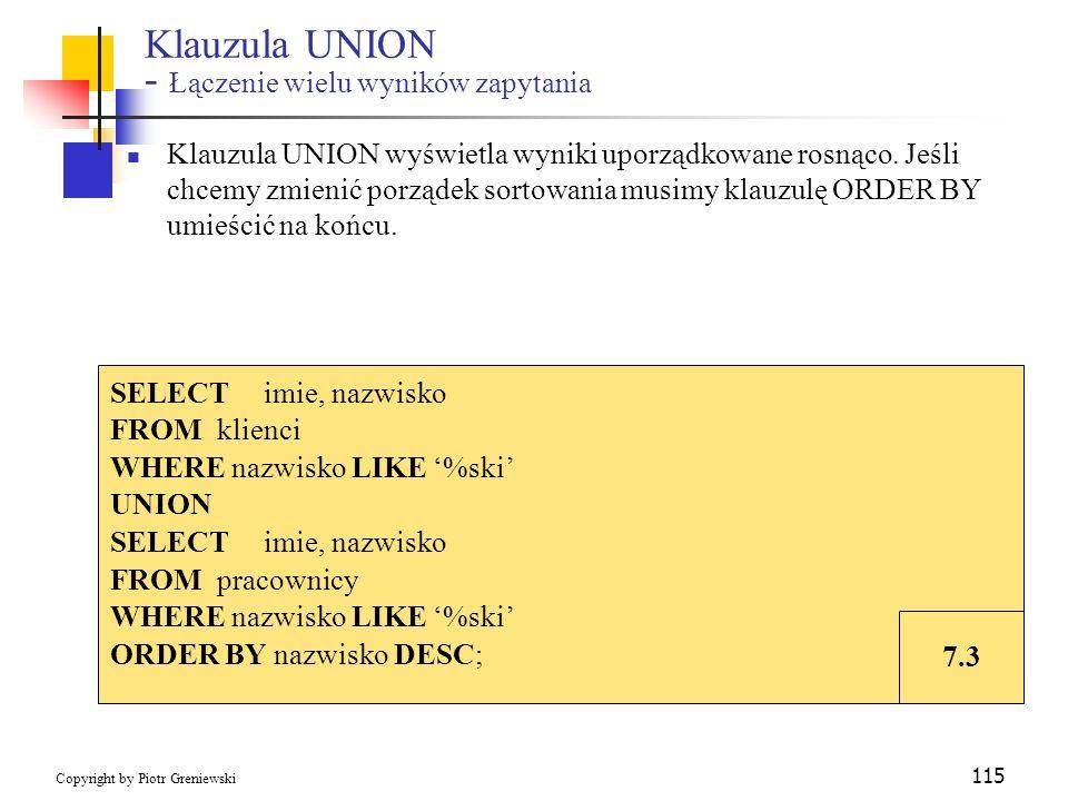 Klauzula UNION - Łączenie wielu wyników zapytania