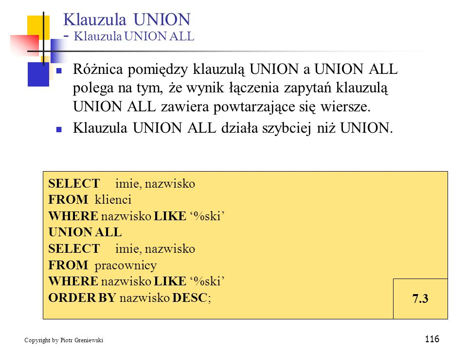 Klauzula UNION - Klauzula UNION ALL