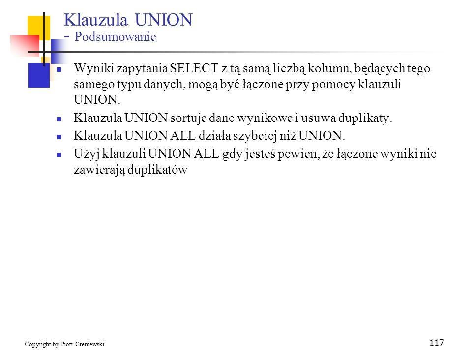 Klauzula UNION - Podsumowanie