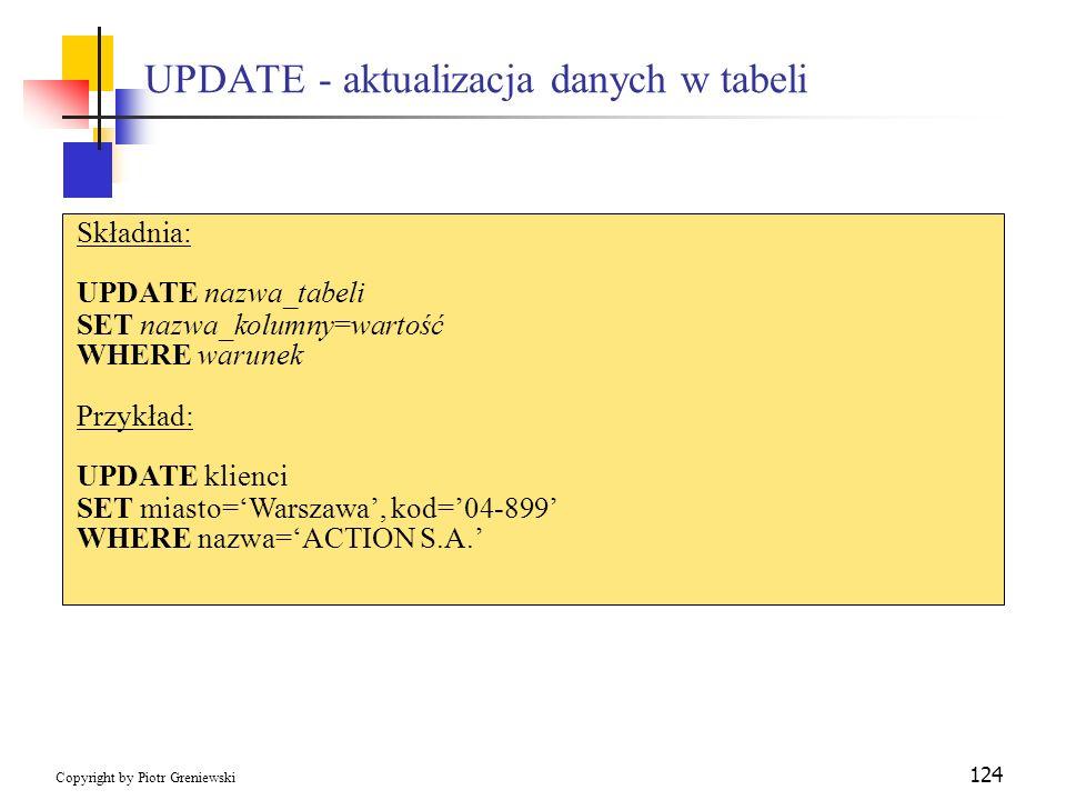 UPDATE - aktualizacja danych w tabeli