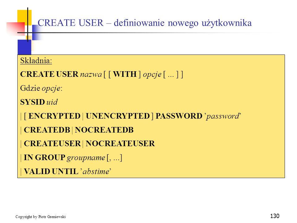CREATE USER – definiowanie nowego użytkownika
