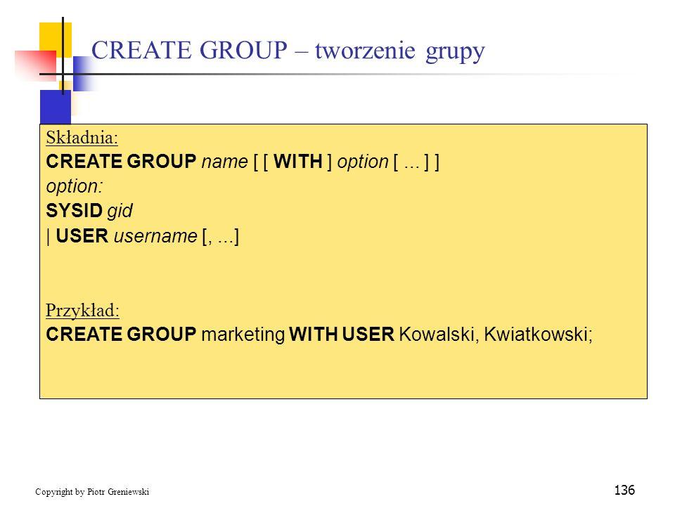 CREATE GROUP – tworzenie grupy