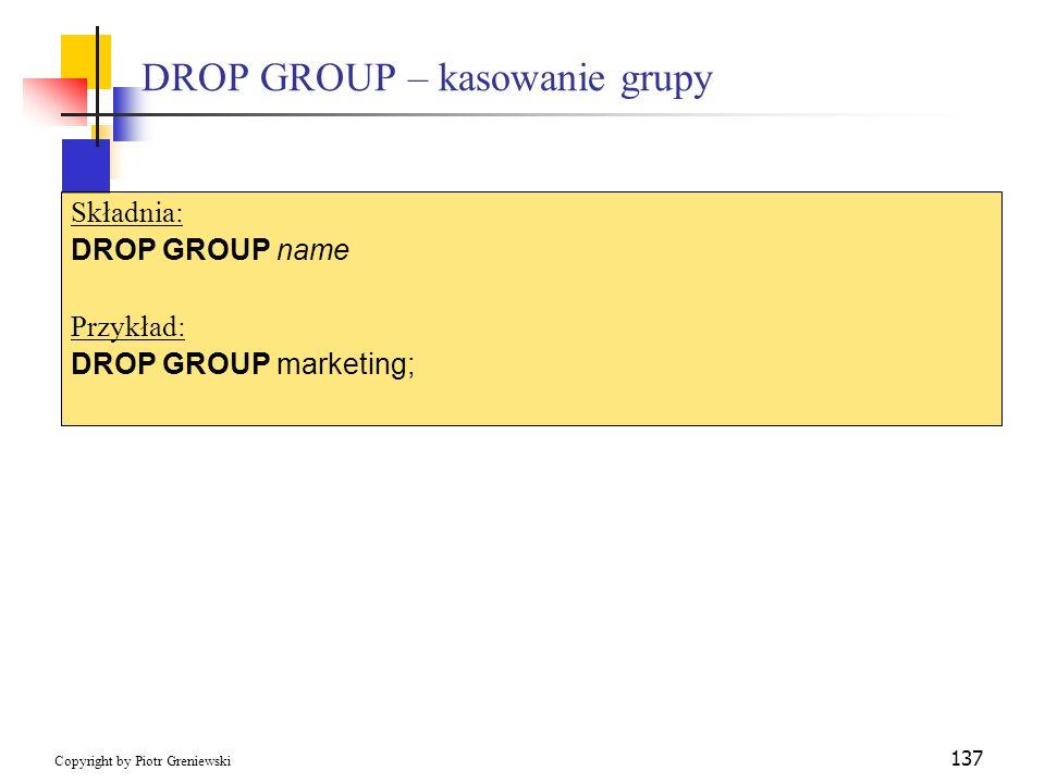 DROP GROUP – kasowanie grupy