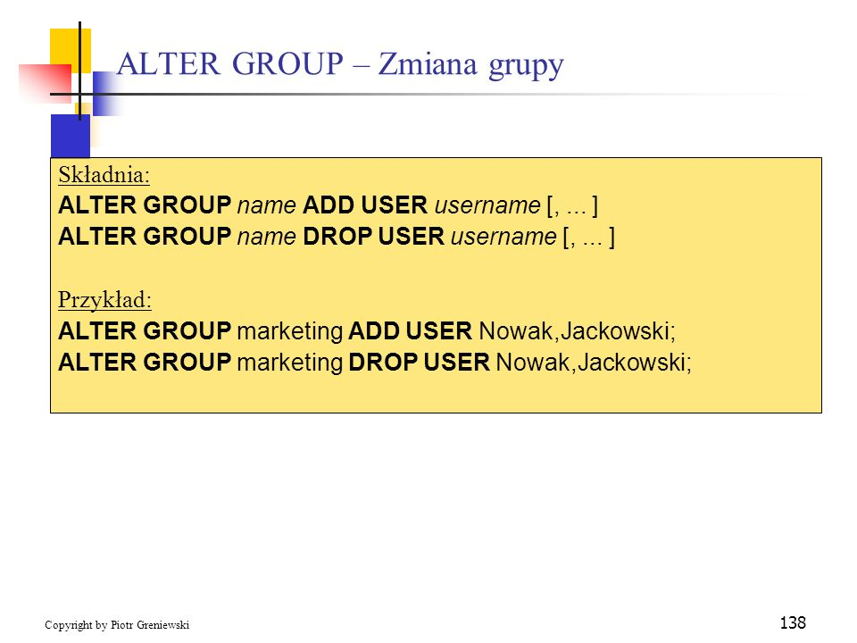 ALTER GROUP – Zmiana grupy