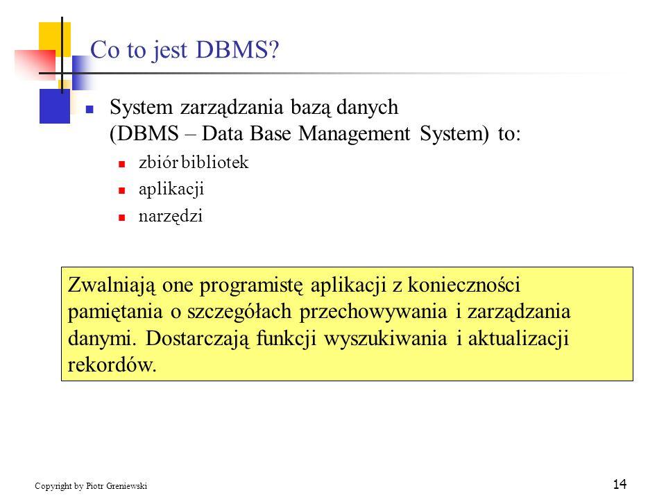 Co to jest DBMS System zarządzania bazą danych (DBMS – Data Base Management System) to: zbiór bibliotek.