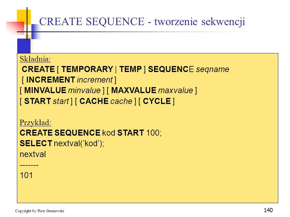 CREATE SEQUENCE - tworzenie sekwencji