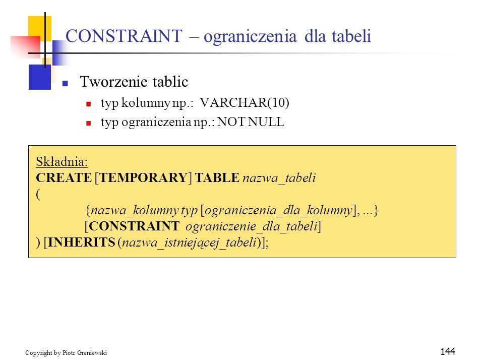 CONSTRAINT – ograniczenia dla tabeli