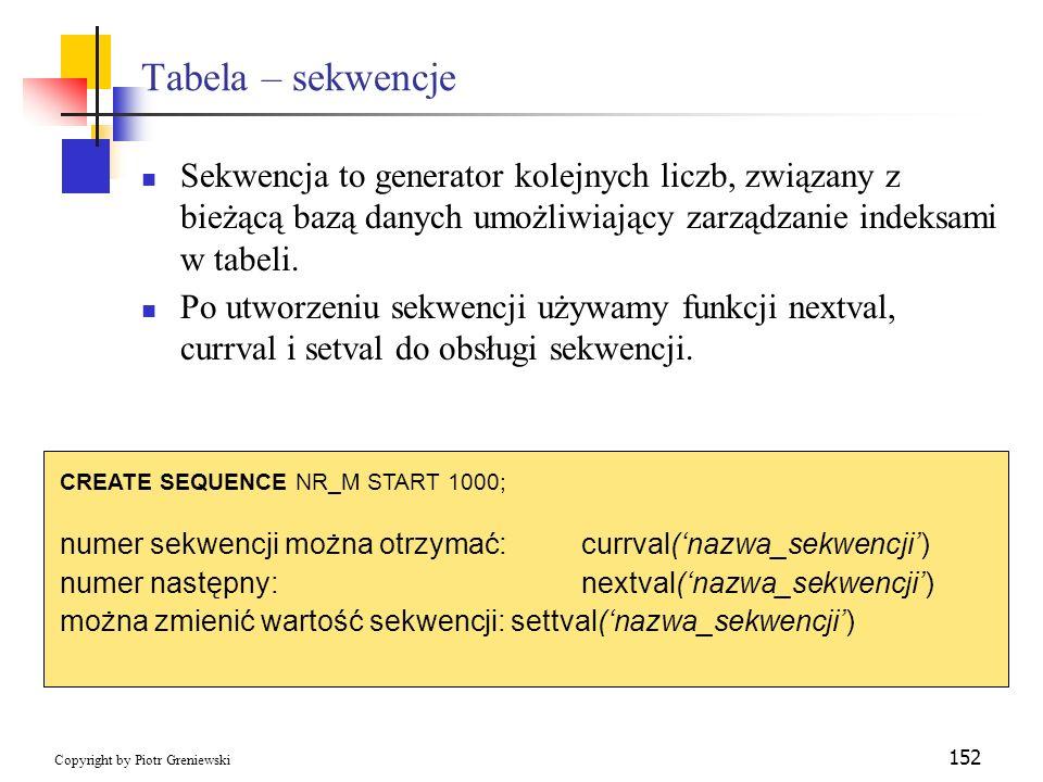 Tabela – sekwencje Sekwencja to generator kolejnych liczb, związany z bieżącą bazą danych umożliwiający zarządzanie indeksami w tabeli.