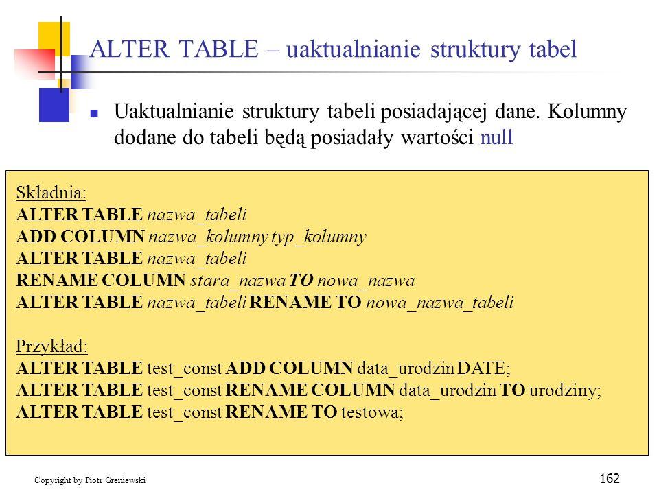ALTER TABLE – uaktualnianie struktury tabel