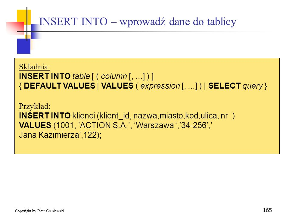 INSERT INTO – wprowadź dane do tablicy