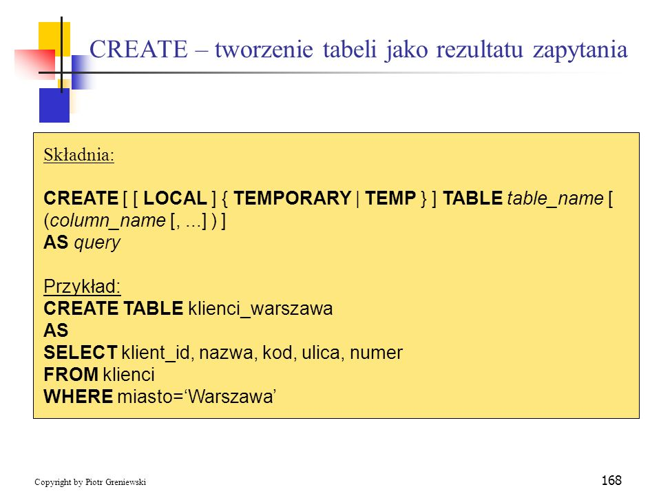 CREATE – tworzenie tabeli jako rezultatu zapytania