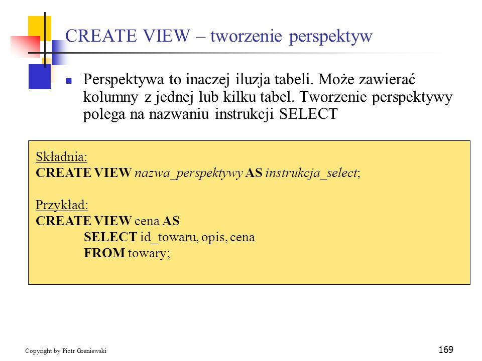 CREATE VIEW – tworzenie perspektyw
