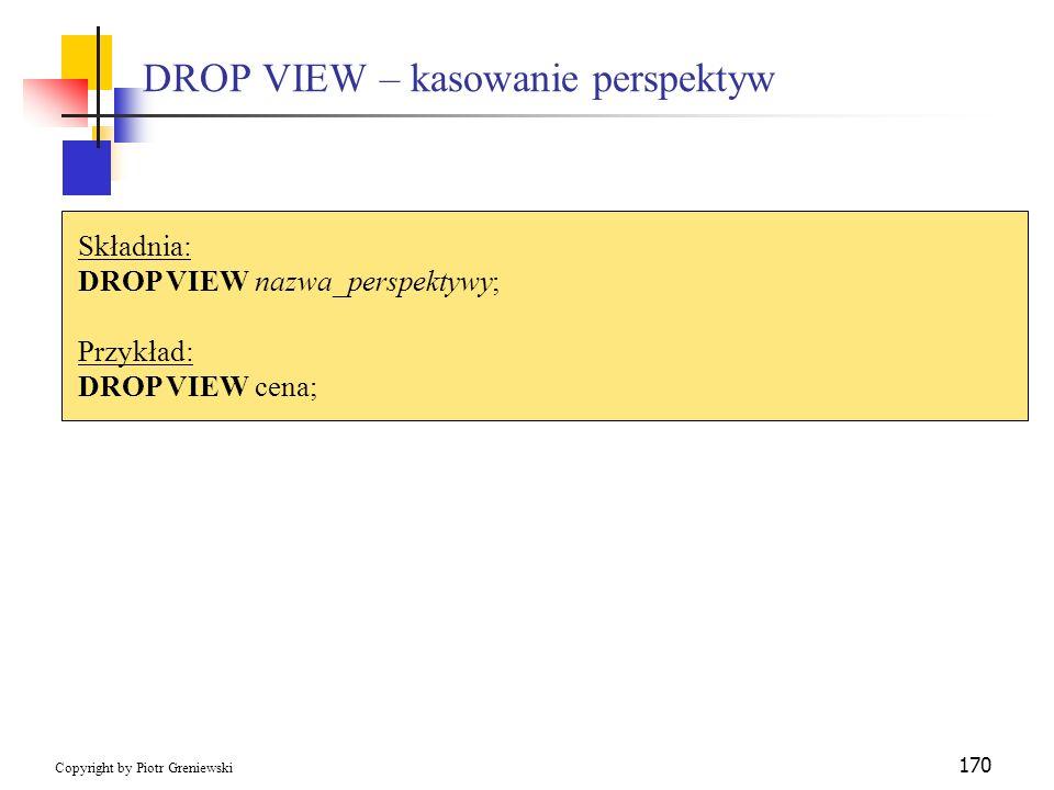 DROP VIEW – kasowanie perspektyw