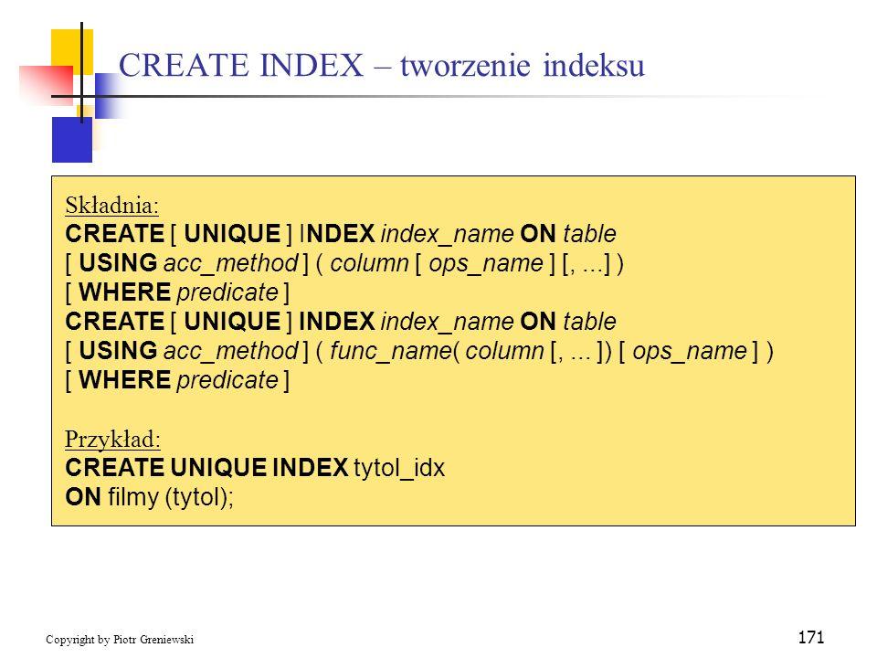 CREATE INDEX – tworzenie indeksu