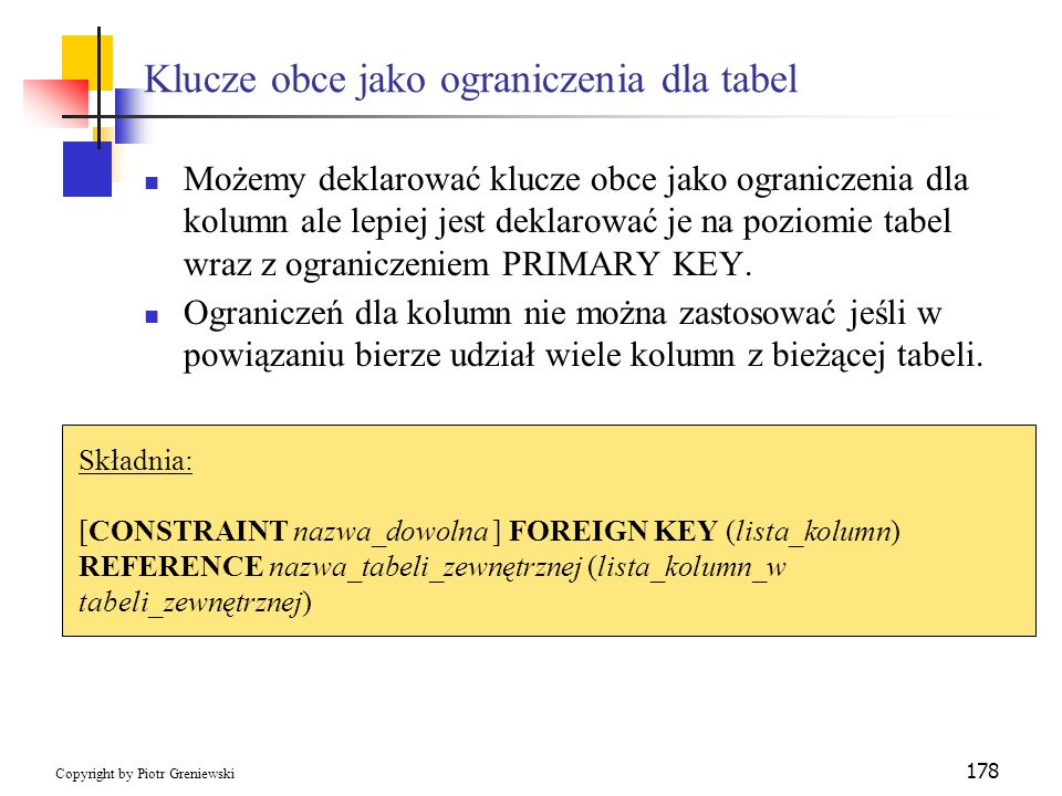 Klucze obce jako ograniczenia dla tabel