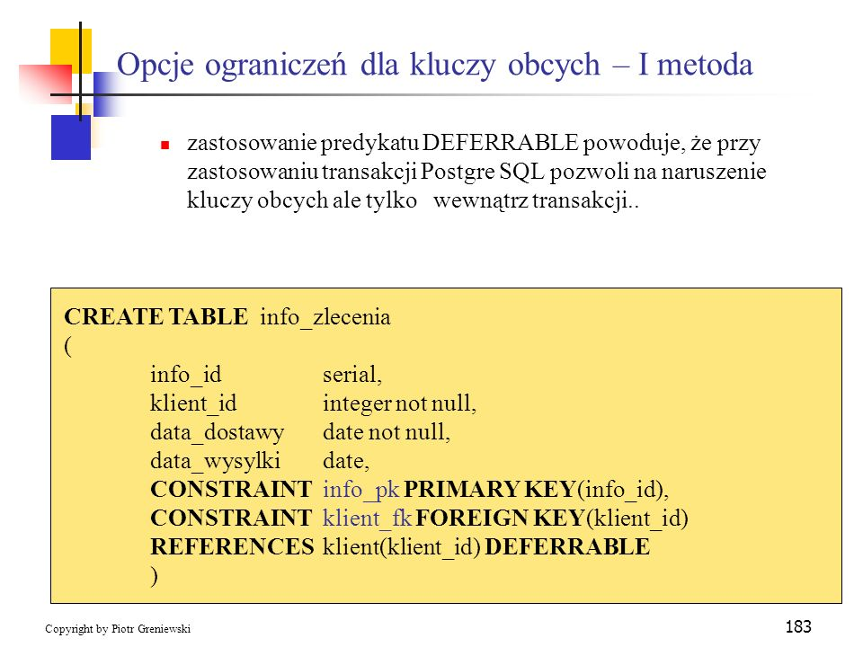 Opcje ograniczeń dla kluczy obcych – I metoda