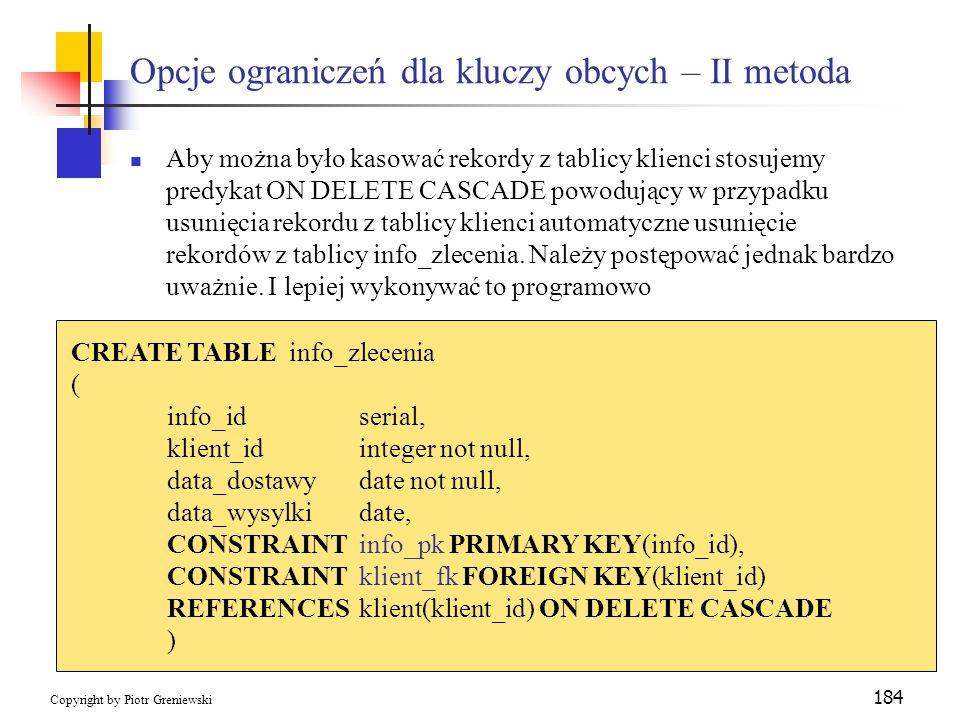 Opcje ograniczeń dla kluczy obcych – II metoda