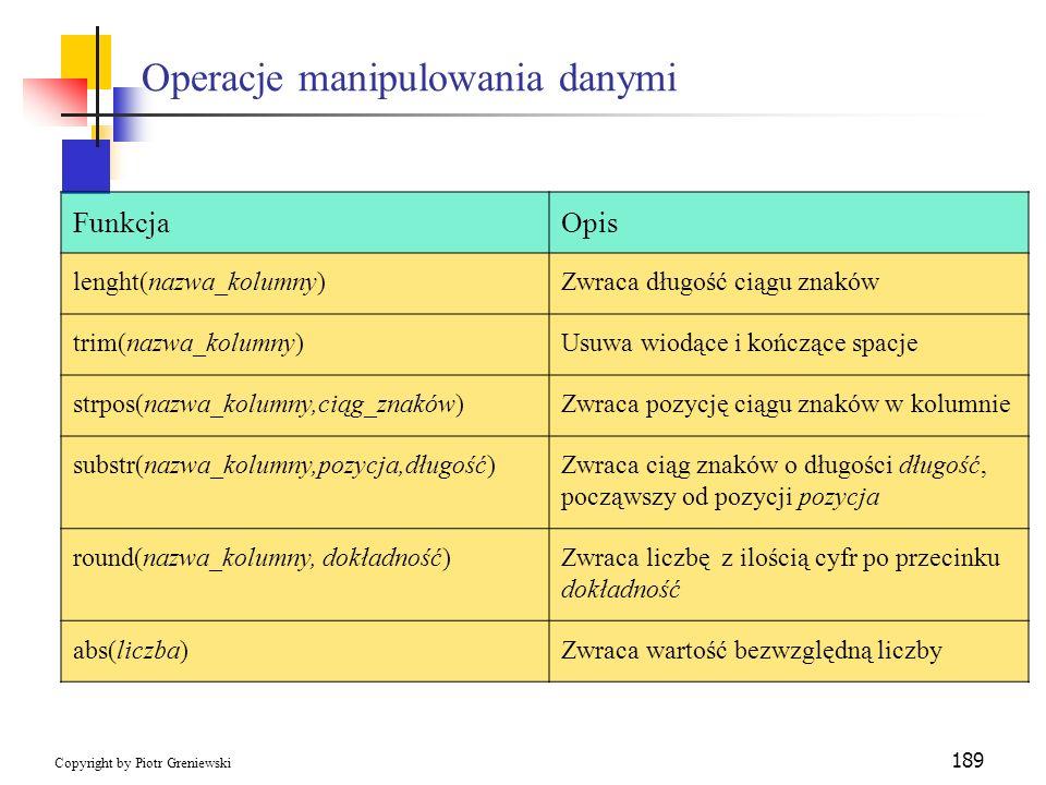 Operacje manipulowania danymi