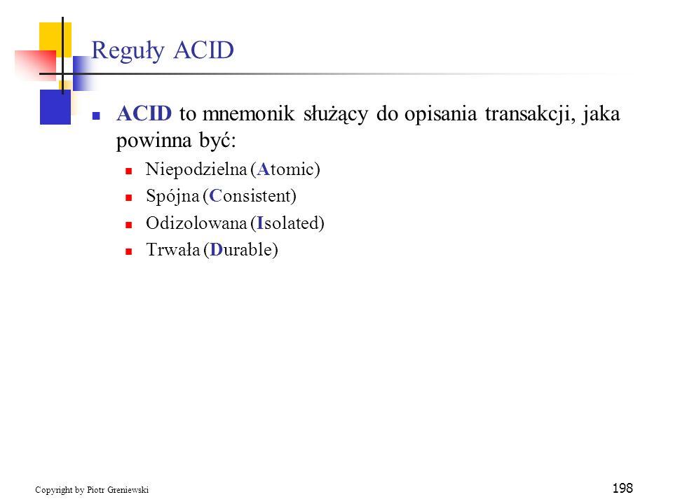 Reguły ACID ACID to mnemonik służący do opisania transakcji, jaka powinna być: Niepodzielna (Atomic)