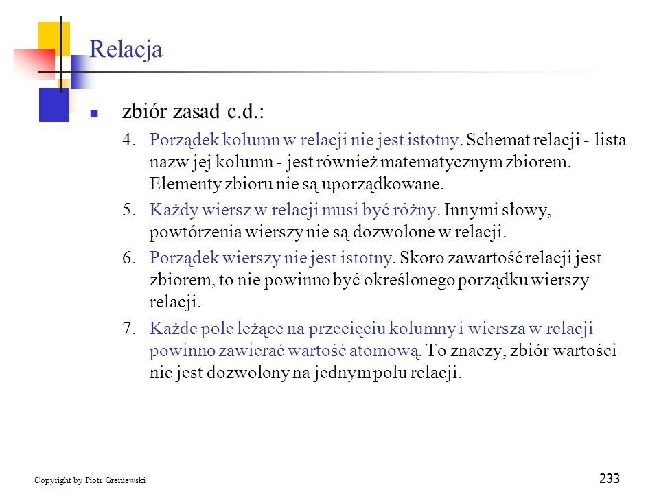 Relacja zbiór zasad c.d.: