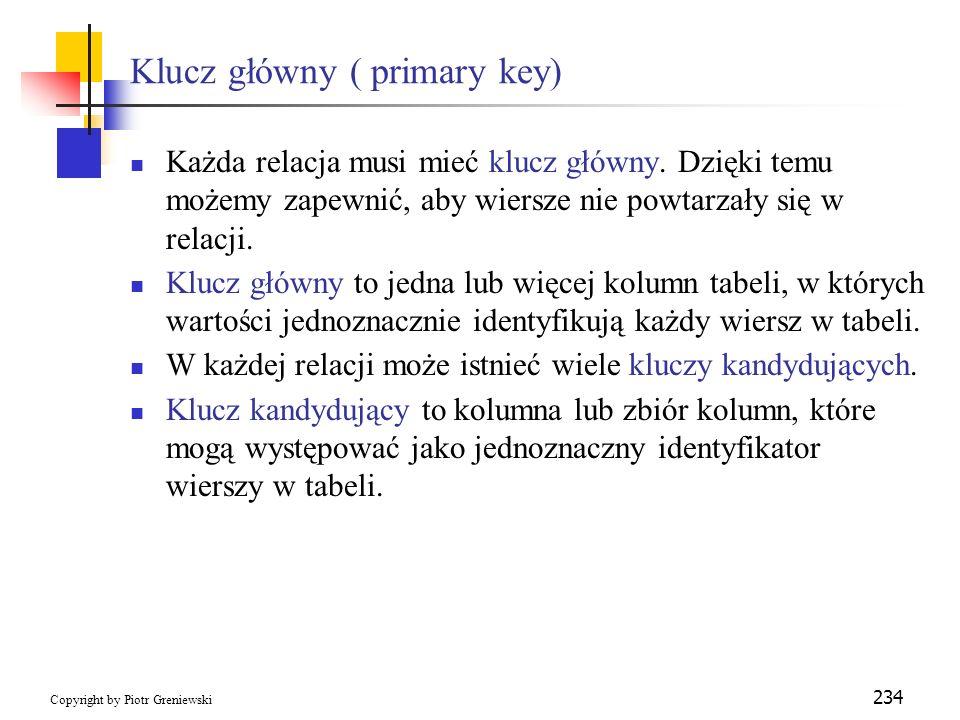 Klucz główny ( primary key)