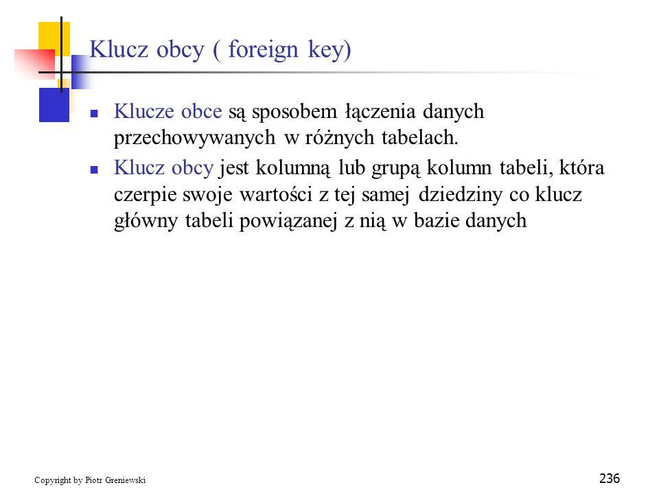 Klucz obcy ( foreign key)