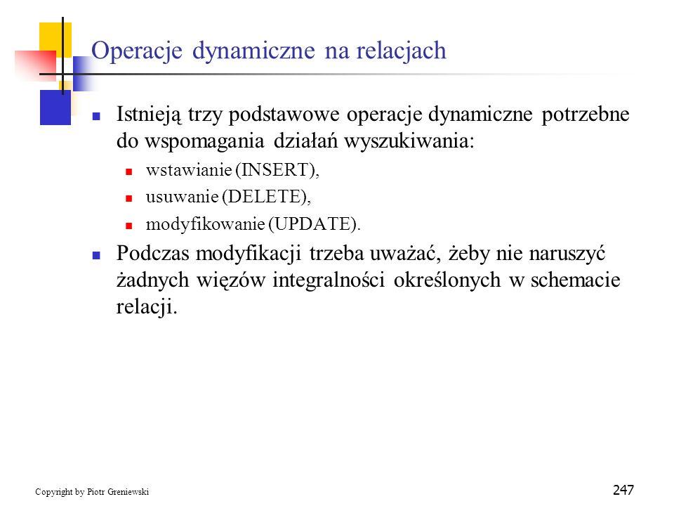 Operacje dynamiczne na relacjach