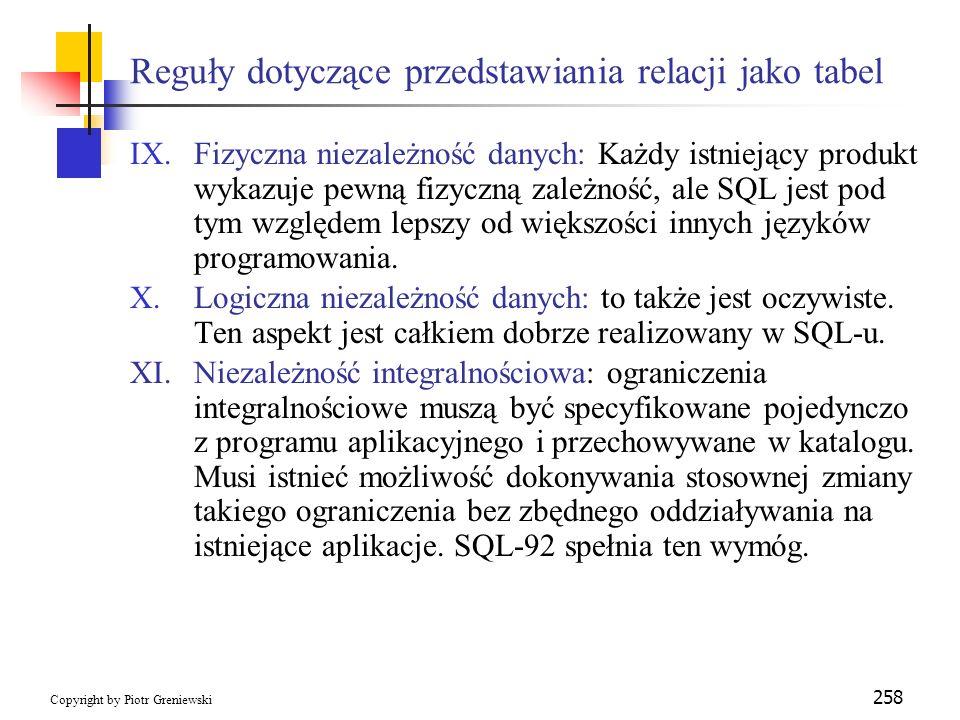 Reguły dotyczące przedstawiania relacji jako tabel
