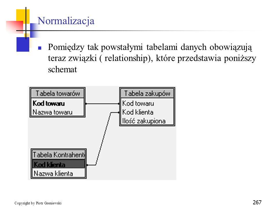 Normalizacja Pomiędzy tak powstałymi tabelami danych obowiązują teraz związki ( relationship), które przedstawia poniższy schemat.