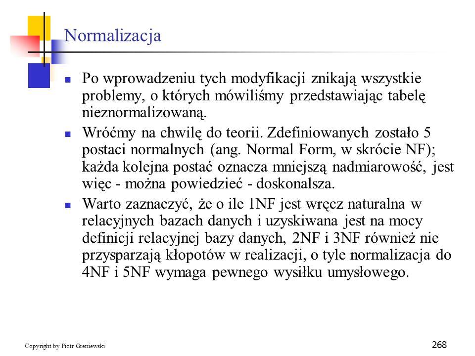 NormalizacjaPo wprowadzeniu tych modyfikacji znikają wszystkie problemy, o których mówiliśmy przedstawiając tabelę nieznormalizowaną.