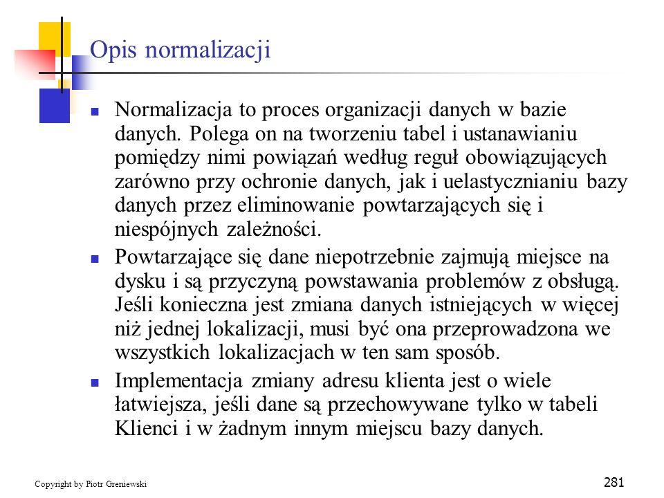 Opis normalizacji